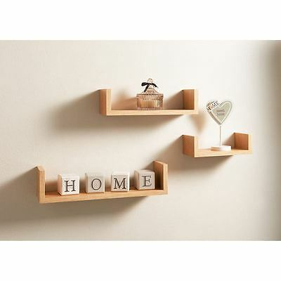 Set of 3 U Shape Floating Wall Shelves Storage Display Shelf, Contemporary Oak