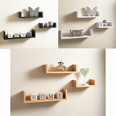 Set of 3 U Shape Floating Wall Mounted Shelves DVD BOOK Storage Display Shelf