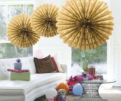 Decoration Honeycomb Fan Gold 45cm Ceiling Hanger Party Decoration