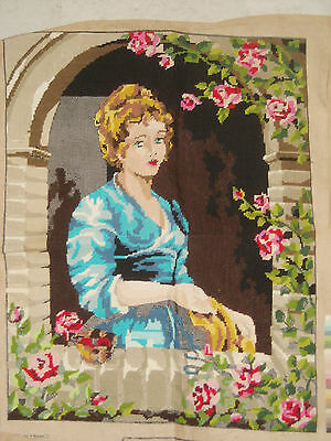 ADORABLE LA JEUNE COUTURIERE France, Margot Paris almost completed needlepoint
