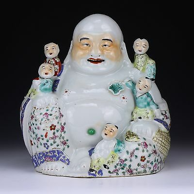 A Chinese Antique Famille Rose Porcelain Buddha, Minguo Period