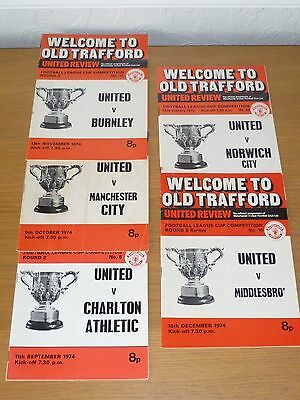 1974/75***5 No Manchester  United Programmes League  Cup Round  2  To Semi-Final