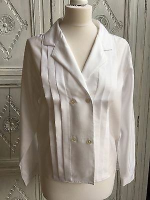 St. Michael Blouse Vtg Dbl Breasted White - 1980s Size 10-12