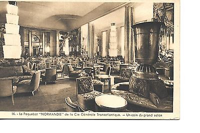 Ss Normandie French  Line   Ocean Liner Linen  Postcard Grand Salon