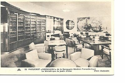 Ss Normandie French  Line   Ocean Liner Linen  Postcard Library