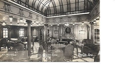 Ss French French  Line   Ocean Liner Linen  Real Photo Postcard Smoking Room