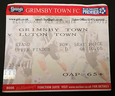 Used Ticket 2012/13 Grimsby Town v Luton Town 21/9/12