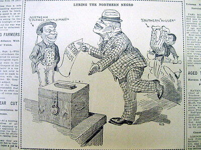 1908 newspaper Near LYNCHING OF NEGRO in Chicago IL + The N-WORD Racist CARTOON