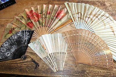 """Lot of 5 Antique Vintage Ladies Hand Fans """"As Found"""""""