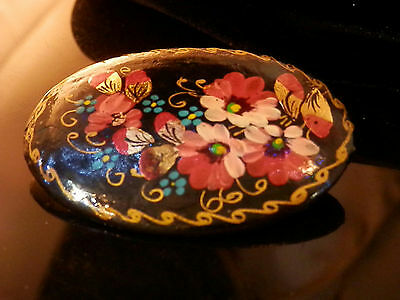 OOAK Hand Painted Russian Laquer Vintage 1980's Signed By Artist Brooch 217ap7