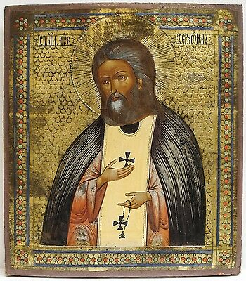 Old Antique Russian Icon of St. Seraphim, 19th c