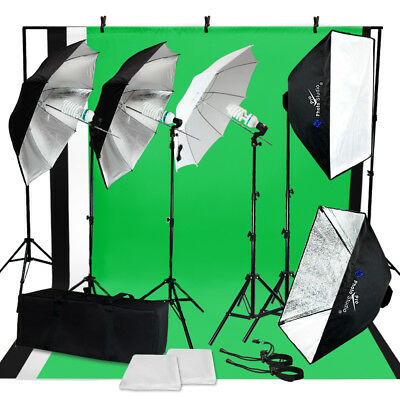 Photo Studio Photography Lighting Kit Umbrella Softbox Muslin Backdrop Stand Set
