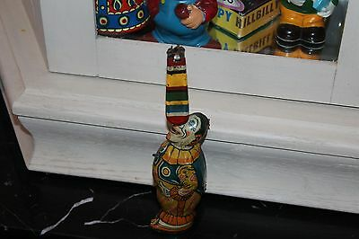 VERY NICE VINTAGE 1930s TIN LITHO J. CHEIN WIND UP CLOWN WHIRLYGIG