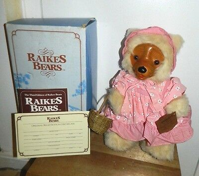 Vintage Sara Anne Raikes Bear by Applause 1987 #17002 15 inches with Box & Tag