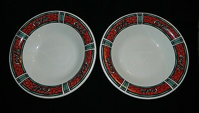 Pair of Two 1996 Gibson Housewares Coca Cola Stained Glass Pattern Bowls Ceramic