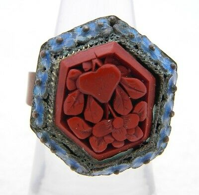 VTG CHINA Marked Blue Enamel Red Cinnabar Ring Size 5.5 Currently