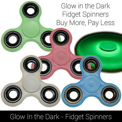 Glow in the Dark Hand Spinner Tri Fidget Focus Tool Desk Toy Stocking EDC | LOT