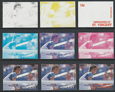 St Vincent Grens 4195 - 1987 TENNIS - Pam Shriver set of 9 PROGRESSIVE PROOFS
