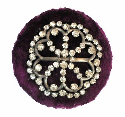 Antique Fancy PIN CUSHION SAFE KEEP - PURPLE VELVET with PASTE RHINESTONES TOP