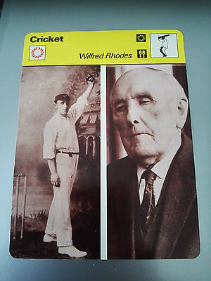 CRICKET - WILIFRED RHODES / YORKSHIRE / ENGLAND - Sportscaster Photo Fact Card