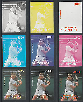 St Vincent Grens 4201 - 1987 TENNIS - Bjorn Borg set of 9 PROGRESSIVE PROOFS