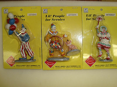3 Different ARISTO-CRAFT G-Scale People 60045, 60046, 60047 Circus Clowns NEW