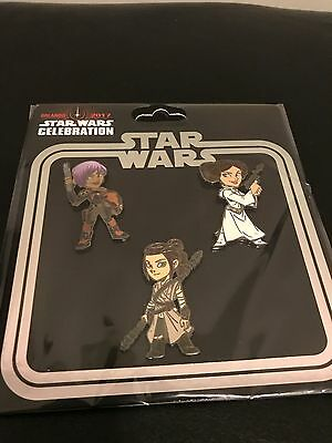 Star Wars Celebration 2017 Women Of Pin 3-Pack Set Rey Sabine Princess Leia