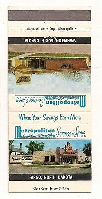 Metropolitan Savings & Loan Association Fargo ND Wahpeton Matchcover 052317