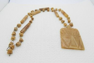 VTG Hand Carved Mexican Brown Coffee Marbled Onyx Aztec Stone Necklace & Pendant