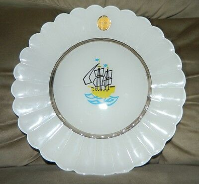 VTG Rare Duralex Art White Milk Glass Sail Clipper Ship Boat Decorative Plate