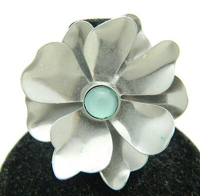VTG Styled Silver Tone Flower Light Blue Cabochon Ring Size 6.25