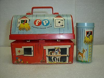 Vintage 1962 Fisher Price Mini Barn Lunch Box w/ Silo Thermos