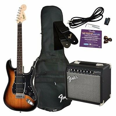 Fender Squier Affinity Strat HSS Guitar Pack Sunburst W/Champion 20 Amp, NEW