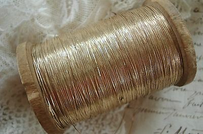 3y VTG FRENCH FINE FLAT GOLD METALLIC EMBROIDERY THREAD ANTIQ TRIM RIBBON WORK