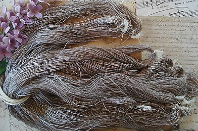 4y VINTAGE FRENCH 3-PLY SILVER TWIST METAL METALLIC EMBROIDERY THREAD FLOSS FLWR