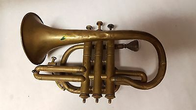 ANTIQUE CORNET BRASS Instrument Champion SILVER PISTON Made in CHICAGO