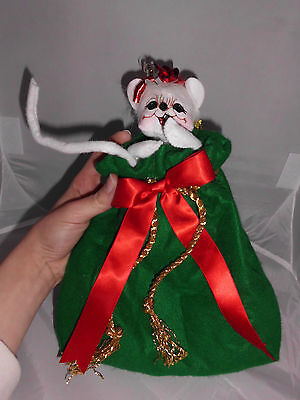 """RARE 2009 Annalee 6"""" Christmas Mouse in Toybag Smiling Has Tags Great Condition"""