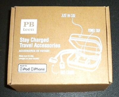 POTTERY BARN Charger Travel Accessories IPod IPad IPhone USB Cord, Plug & Case