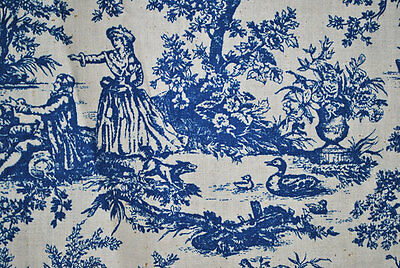 "1920'S BLUE LINEN TOILE FABRIC WITH FOUNTAINS, PEOPLE, BIRDS, 54-1/2"" x 45-1/2"""