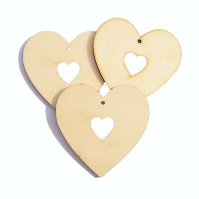 25pcs Blank Heart Wooden Pieces Tags Scrapbooking Embellishment Art Craft