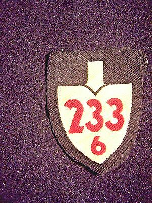 Original Vintage Wwii  German Rad Sleeve Patch Unit 233 / 6