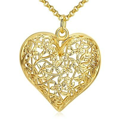 "Women's Heart Pendant Necklace 18K Yellow Gold Filled 18"" Link Fashion Jewelry"