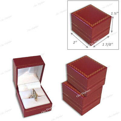 Lot Of (3) High Quality Leatherette Ring Box Red Ring Box Jewelry Gift Box Deal