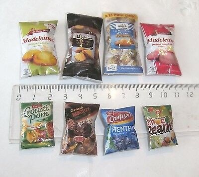 8 sachets aliments factices Maison Poupée Vitrine Doll House Food Barbie 1/12