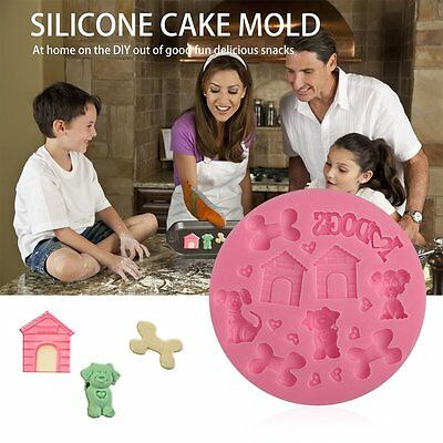 3D Puppy-shaped Silicone Fondant Mould Baking Decorating Tool Cake XRAU