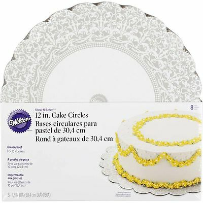 """Wilton 12"""" Show 'N Serve Round Cardboard Cake Circle Decoration Boards, 8-Count"""