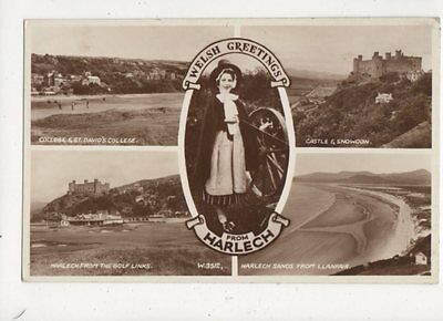 Welsh Greetings From Harlech 1956 RP Postcard Welsh Lady 648a