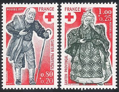 France 1977 Red Cross/Man/Woman 2v set (n20408)