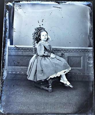 Young Girl Seated - Antique Edwardian Studio Glass Negative c1905
