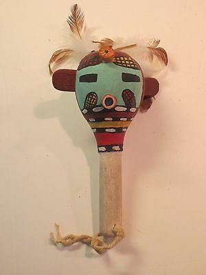 Vintage Authentic Hopi Native American Ceremonial Gourd Rattle
